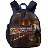 Girl School Bag Bar Counter With Chairs In Empty Comfortable Restaurant At Night Shoulder Bag Navy