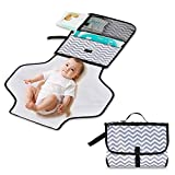 Baby Changing Mat, Queta Portable Nappy Changing Pad with Head Cushion Pockets | Travel Changing Mat Diaper Detachable and Wipeable Mat Present for Mom of Newborn Boys Girls Baby Shower Gift