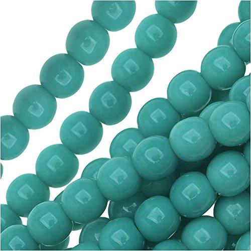 4mm Druk Round Beads (Czech Glass Druk Round 4mm Green Turquoise (100 Beads))