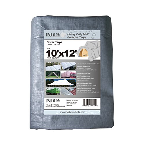 Inddy Tarps 10 x 12 Feet Silver and Black Canvas Tarp Waterproof Poly Tarp 12 Mil Thick 14 x 14 Weave Heavy Duty Tarp for Camping Wood Boat Truck Car Roof and UV Resistant by INDDY