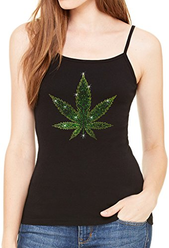 Junior's Rhinestone Weed Leaf Tee Black Spaghetti Strap T-Shirt Large Black