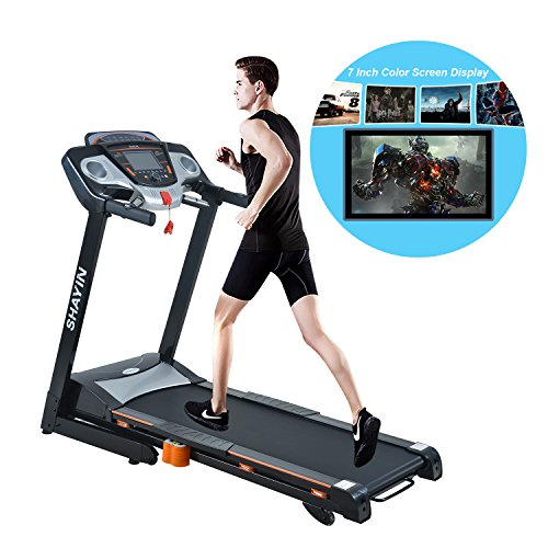 Electric Treadmill Smart 2.0HP Assembly Treadmill Portable Folding Running Machine with7 Inch color screen display for Home Gym Health Fitness Training Equipment (US STOCK)
