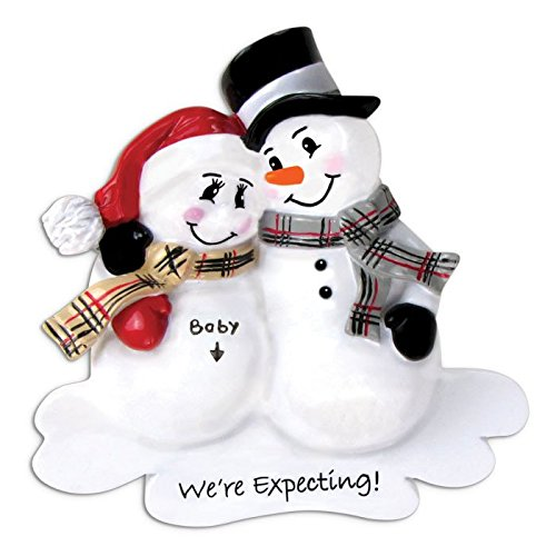 Snowmen Family We're Expecting a Baby Personalized Christmas Ornament (Family of 2)