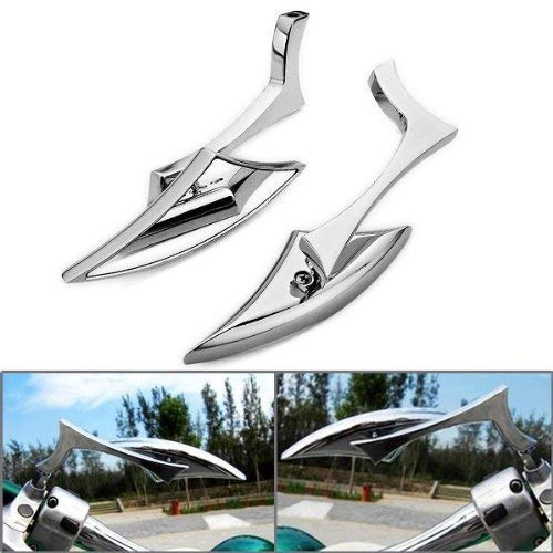 (DLLL Chrome Billet Aluminum Scimitar Blade Rearview Side Mirror Kit Universal Fit All Cruiser Chopper Touring Standard Metric Motorcycle 8mm 10mm Mounting Bolts)