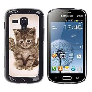 Angel Kitten Baby Maine Coon - Metal de aluminio y de plástico duro Caja del teléfono - Negro - Samsung Galaxy S Duos S7562