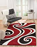 SUMMIT BY WHITE MOUNTAIN Summit SH-SS49-BTSZ 30 Red White Swirl Area Rug Modern Abstract Many Sizes Available, 7′.4″ x10′.6″ Review