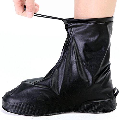 GWHOLE Rain Snow Shoes Cover Waterproof Anti-Slip Reusable Foldable Zipper Overshoes for Men and Women
