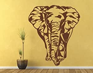 Style Apply Big Elephant Wall Decal Wall Sticker Vinyl Wall Art Home Decor Wall Mural 1702 0 Brown 24in X 28in Home Kitchen Amazon Com