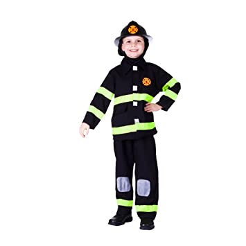 Amazon.com: Deluxe Black Fire Fighter Kids Costume: Toys & Games
