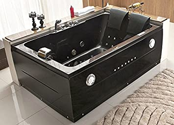 2 person whirlpool tub with heater. 2 Person Bathtub Black Jacuzzi Type Whirlpool 14 Massage Jets Built in  Heater Waterfall Faucet