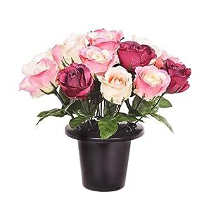 FloristryWarehouse Weighted Grave Pot Artificial Open Pink Burgundy Cream 50
