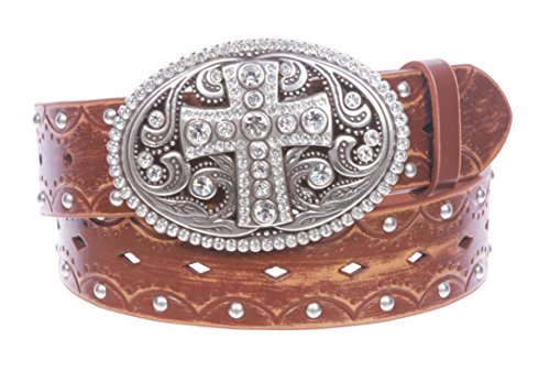 Studded Perforated Embossed Leather Belt With Rhinestone Bling Cross Buckle Size: S/M - 32 Color Tan