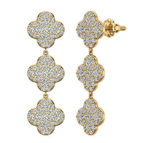 - 14K Yellow Gold Clover Diamond Chandelier Earrings Waterfall Style (J,I1)