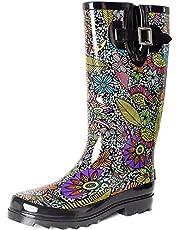 SheSole Women's Waterproof Rubber Gumboots Rain Garden Wellington Boots Floral Printed