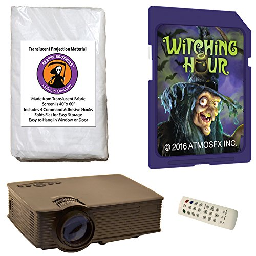 Halloween Digital Decoration Kit Includes 1900 Lumen Projector, Reaper Brothers High Resolution Window Rear Projection Screen and AtmoFearFX SD Card Witching Hour SD -