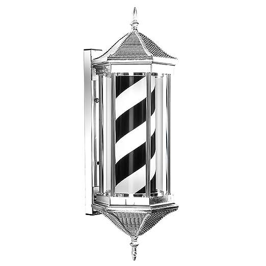 MIRC Barber Pole 70cm LED peluquería Logo Polo lámpara Negro Raya ...