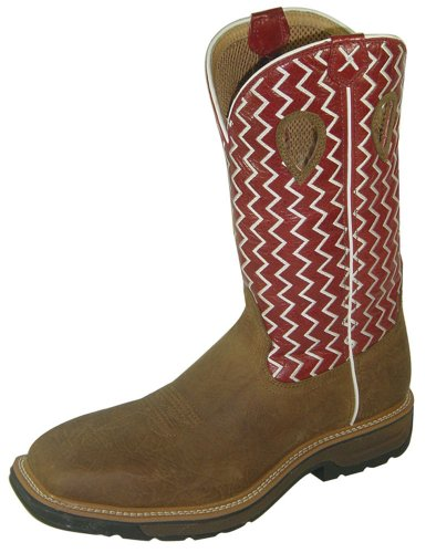 - Men's Lite Cowboy Workboot - Distressed Saddle/Cherry