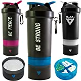 BeMo® Motivational Protein Shaker Bottle, Large 28-Ounce Shaker Cup with Protein Powder Storage Compartments, 100% Leak Proof, Motivational Logos, BPA Free (Blue, BE Strong)