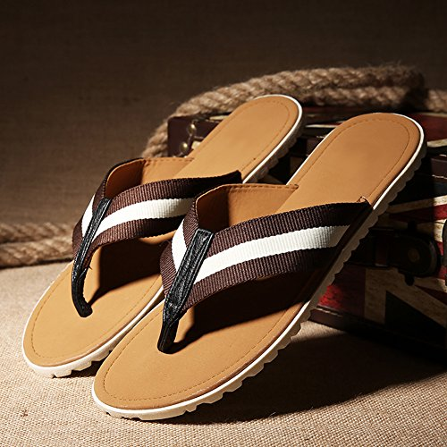 fereshte Mens Fashion Slippers Flip Flop Casual Breathable Colorblock Beach Sandals Brown White HvK2sWks1w