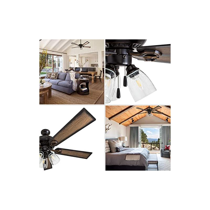 """Prominence Home 40278-01 Glenmont Barnwood Blades, Contemporary, 52"""", Oil-Rubbed Bronze"""