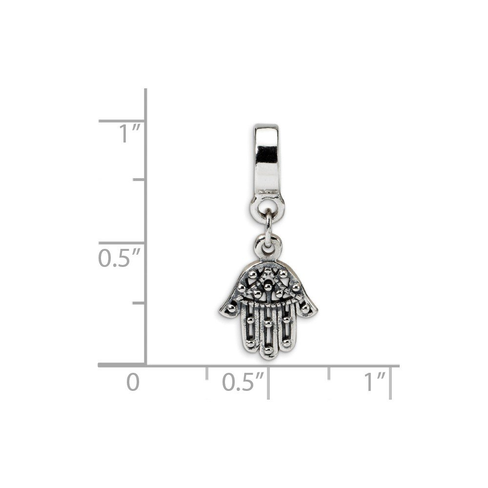 FB Jewels Solid 925 Sterling Silver Reflections Chamseh Dangle Bead
