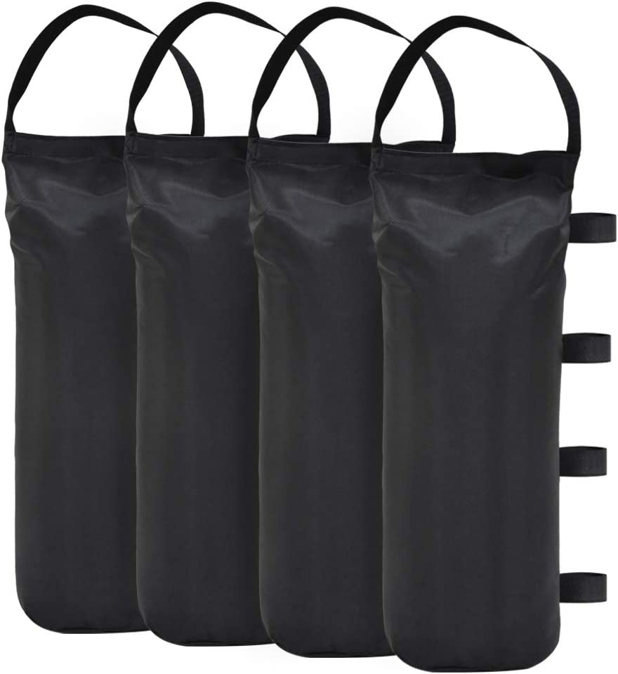 Eurmax 112 LBS Extra Large Pop up Canopy Weights Sand Bags for Ez Pop up Canopy Tent Outdoor Instant Canopies, 4-Pack,Black (Without Sand) Dark Black