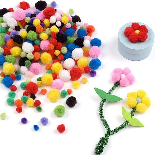 Baker Ross Value Pack of Mini Pom-Poms in Assorted Bright Colors (Pack of 500)]()