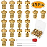 Anezus 25 Pieces 0.4mm 3D Printer Extruder Nozzle with Nozzle Cleaning Needles for 3D Printer Filament 1.75mm E3D Makerbot