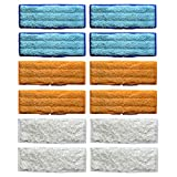12 Packs Washable Mopping Pads for iRobot Braava Jet 240 241 Blue 4 Orange 4 White 4
