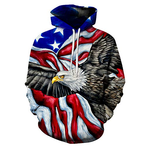 Men's Hooded 3D HD Printed Unique American Eagle Sports Thin Jacket Hooded (AME-Eagle-6,6XL)