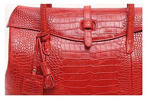Fashion Crocodile Pattern Leather Shoulder Handbag 4 Color (Red) by PRISTINE&BB (Image #2)