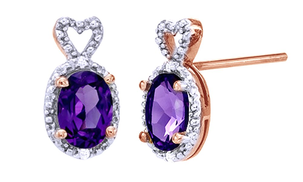 Oval Simulated Amethyst & White Natural Diamond Accent Heart Top Stud Earrings in 10k Solid Gold by Jewel Zone US (Image #1)