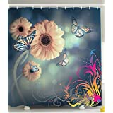 Decor Ombre Garden Fabric Artistic Shower Curtain Gerbera Flowers Decor with British Butterflies Abstract Art Macro Photography and Floral Pictures Bathroom Decorations Denim Peach Fuchsia Yellow