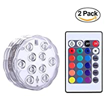 NICREW Multi-color Submersible LED Lights, Remote Controlled RGB Waterproof Lights for Vase, Wedding, Party and Fish Tank Decors - 2 Pack