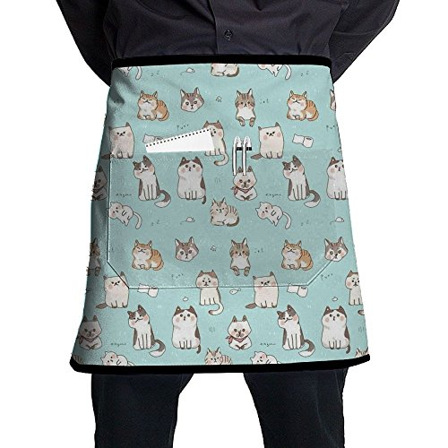 HYEECR Cartoon Cat Half-Length Short Waist Apron With Pocket For Barbecue, Kitchen