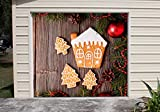New Year Gingerbread Cookies Full Color for SINGLE CAR GARAGE Holiday Banner DOOR MURALS Covers Outdoor Decor Billboard 3D Effect of House Garage Door Cover Size 83 x 89 inches DAV110