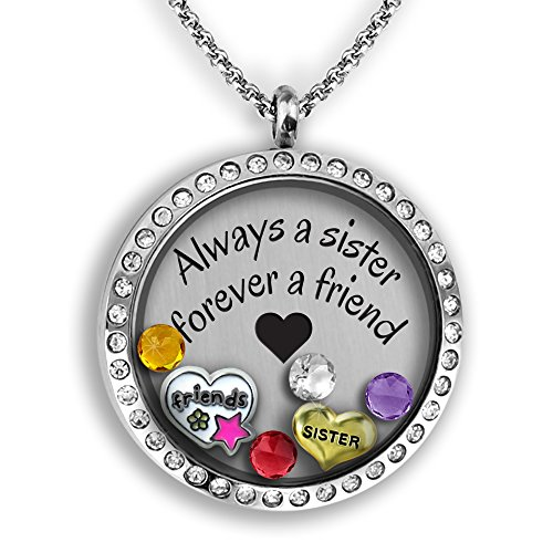Sisters Necklace | DIY Jewelry for Women Personalized Floating Locket Necklace Set Best Friend Gifts | Stainless Steel 30mm Authentic Floating Charm Locket Jewelry Set Glass Memory Locket for (Best Friends Lockets)