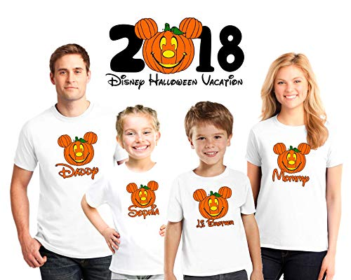 Halloween Disney Vacation family matching shirts, Halloween Family vacation Disney shirts, Personalized matching Disney Shirts for Family, not so scary Halloween matching -