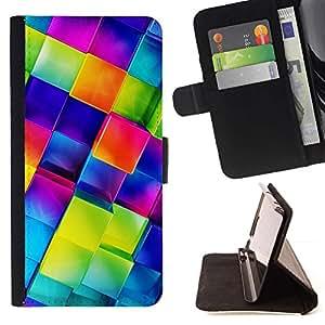 Momo Phone Case / Flip Funda de Cuero Case Cover - Polígono de cristal azul 3D de cristal reflectante - HTC One A9