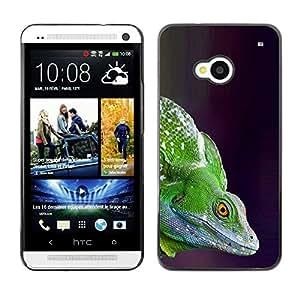 Camaleón del lagarto verde Commando- Metal de aluminio y de plástico duro Caja del teléfono - Negro - HTC One M7