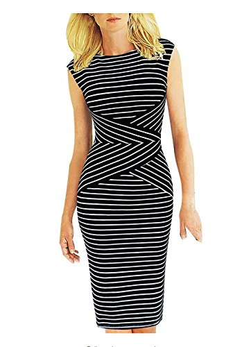 Viwenni Women's Summer Striped Sleeveless Wear to Work Casual Party Pencil Dress, XXL by Viwenni (Image #1)