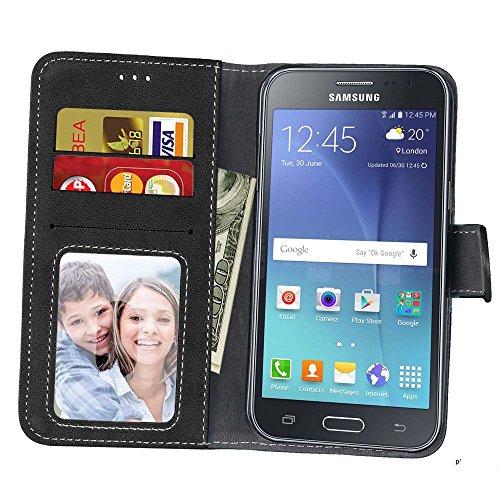 YHUISEN Retro estilo sólido color Premium PU cuero cartera caso Flip Folio cubierta protectora de la caja con ranura para tarjeta / soporte para Samsung Galaxy J2 2015 J200 ( Color : Beige ) Black