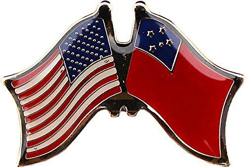 Pins Lapel Samoa (AES USA American & Samoa Country Flag Bike Hat Cap lapel Pin)