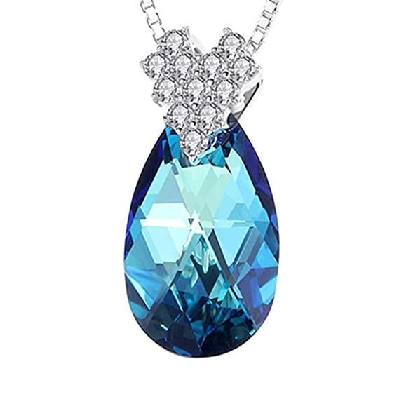 Womens Silver Chain Necklace Waterdrop Gemstone Pendant Fashion Jewelry Gift