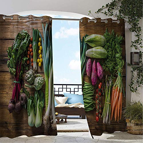Linhomedecor Outdoor Waterproof Curtain Farmhouse Local Farmers Market Products Pattern Beets Carrots and Leeks Rustic Pattern Multicolor pergola Grommet Patterned Curtain 72 by 72 inch