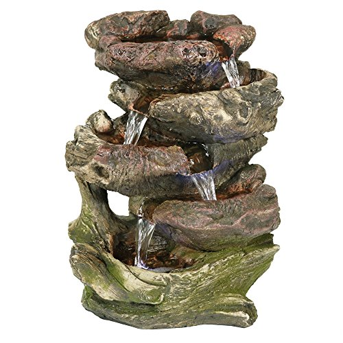 Sunnydaze Tabletop Fountain with LED Lights - 5-Step Rock Falls Indoor Waterfall Feature - Calming and Relaxing Water Sound - Small 14 Inch Desktop Size ()