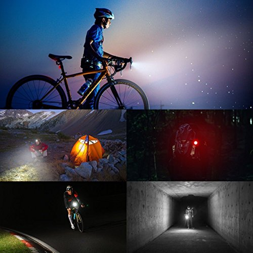 Akale Rechargeable Bike Light Set, Super Bright LED Bicycle Lights Front and Rear, 4 Light Mode Options, 650mah Lithium Battery, Bike Headlight, IPX4 Waterproof, 2 USB Cables 3 Strap Included by Akale (Image #5)