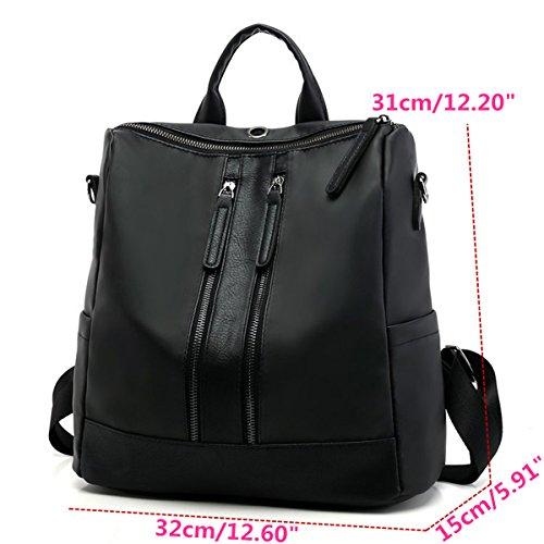 Business Mochila Cuero Para Elegante De Casual Mujer ourbag Viaje Satchel Chicas Bolso Daypack Negro 0qr0wT5