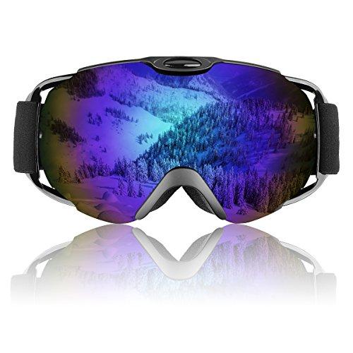 Ski Goggles, OTG Frameless Snowboard Glasses with Adjustable Longer Strap for Men, Women & Youth - Interchangeable Lens & 100% UV400 Protection - Mirrored Lenses Prescription