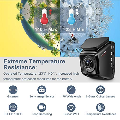 51xSAcAoUqL - Dash Cam FHD 1080P Car DVR with WiFi and 6-Lane 170° Wide Angle Lens, Dashboard Camera Recorder with WDR, Loop Recording, G-Sensor Include 16GB Memory Card